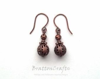 Antiqued Copper Filigree Bead Earrings - Antiqued Copper Earrings - Copper Bead Earrings