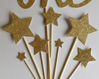Gold 1st Birthday Cake Toppers, Gold Glitter ONE & Star Cake Toppers, Birthday Cake Toppers, Assortment Pack