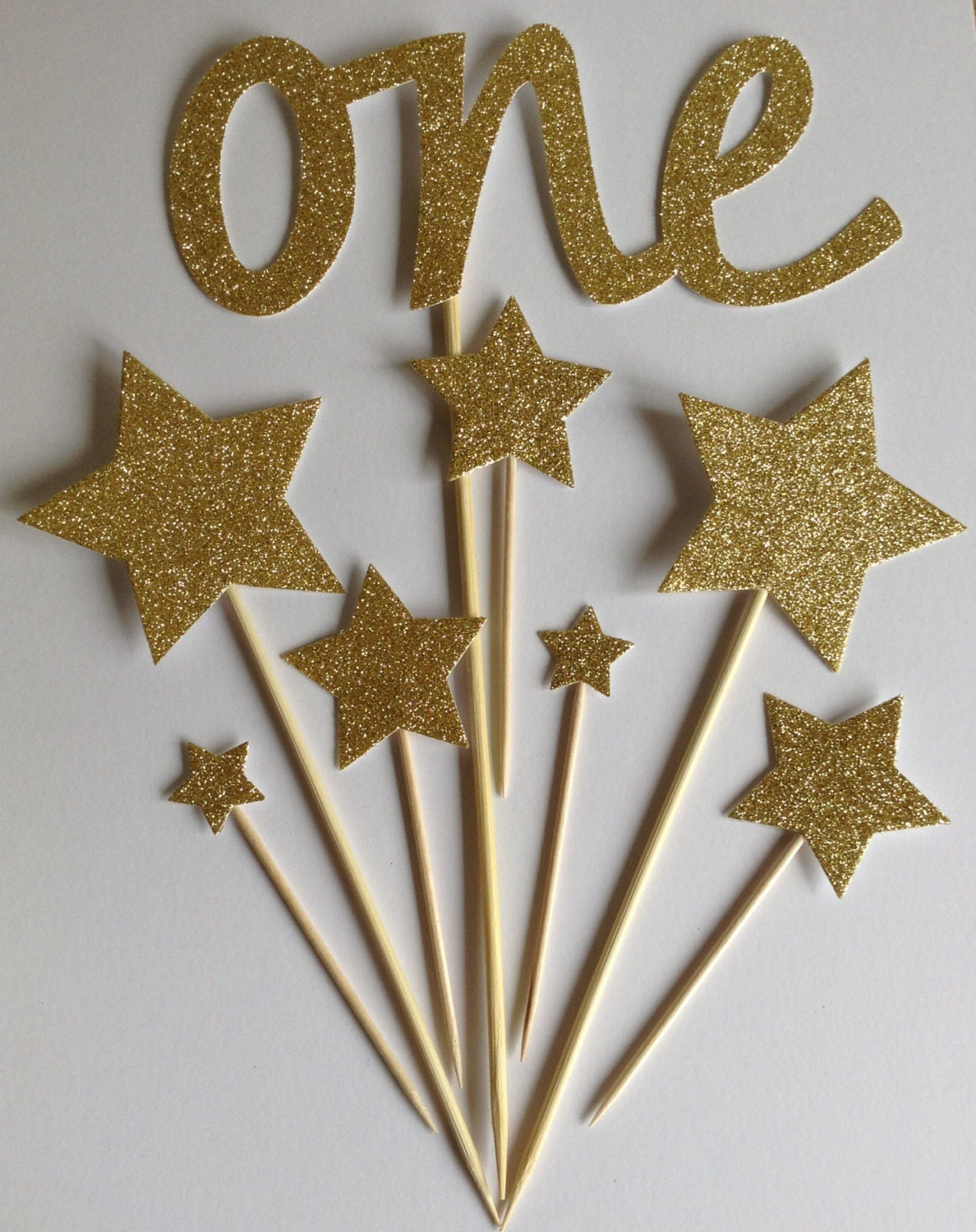 Gold 1st Birthday Cake Toppers Gold Glitter One Amp Star Cake