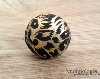 "1.5"" Gold and Black Animal Inspired Knob - Art Deco Gatsby Faux Animal Print Drawer Pull - Round Black Velvet Knob with Painted Gold"