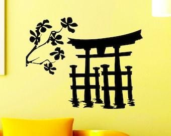Wall Decals Japanese Torii Gate Silhouette Decal Sticker Vinyl Decals Wall Decor Murals Z514