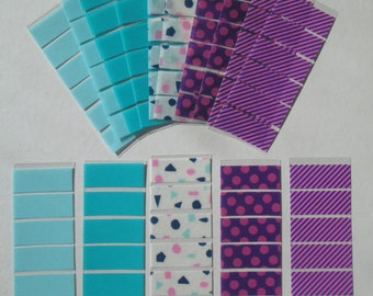 April Monthly Washi Stickers for Erin Condren Life Planner, Plum Paper Planner, purple pattern washi, pattern washi, turquoise washi