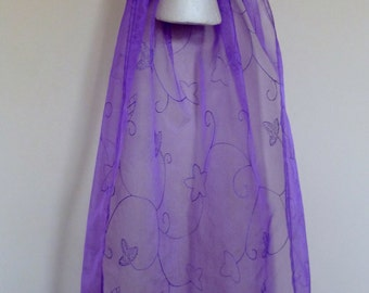 medieval headdress made to order embroidered veil pagan larp headpiece Renaissance purple and  detailing