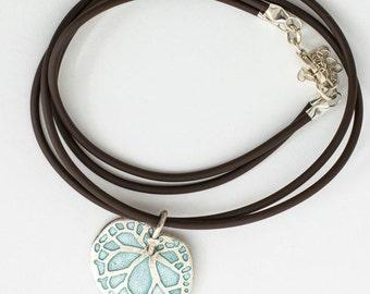 Leaf Pendant , Silver Enamel Pendant , Begonia Leaf  Pendant , Blue grey pendant.