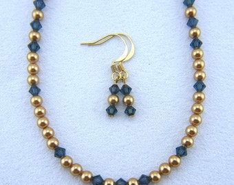 Swarovski Crystal and Pearl Necklace with matching Earrings - N015BFL