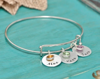 Personalized bangle bracelet with kids names   Mothers Day   Mothers Jewelry   bracelet with names   Gift for Mom