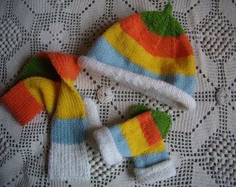 Together baby bonnet, scarf and slippers, 6 months, knitted acrylic/wool hand, multicolor