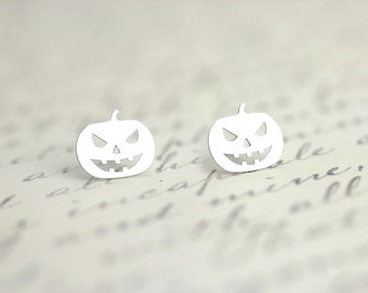 Halloween Pumpkin Stud Earrings, Sterling Silver Jack O lantern