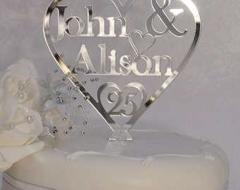 Unique Personalised 25th Silver Wedding Anniversary Double Name Heart Cake Topper Keepsake - Silver Mirror Acrylic - Little Shop of Wishes