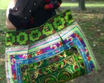 Boho Embroidery Bag - Hmong Tote Bag - Ethnic Gypsy Bag  ( FREE SHIPPING WORLDWIDE )