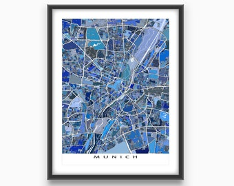 Munich Map Print, Munich Germany, Travel Map, City Map Art, Munchen