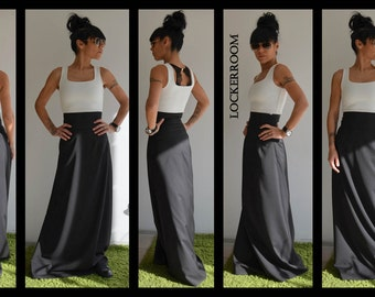 Black Long skirt /  High Wasted Long Skirt / Ladies long skirt