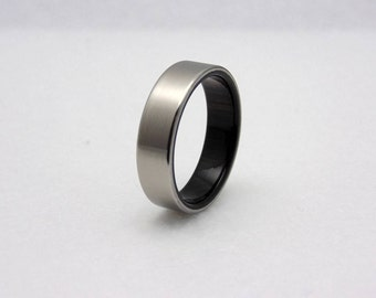 Titanium wood wedding band  African Blackwood liner