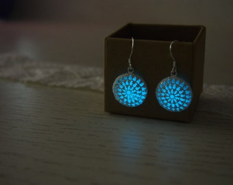Glowing Earrings, 'Glow- in- the- dark' Earrings, Sterling silver plated Earrings,Glow in the dark Jewelry