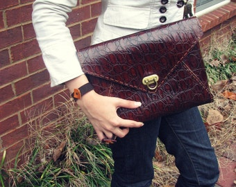 large leather envelope clutch-brown Leather clutch-envelope clutch-Woman's Handmade leather purse -leather purse-larg envelope bag