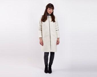 Winter Coat, Winter Wool Coat, White Winter Coat, Winter Wedding, Long White Coat, White Womens Jacket, Zipped Coat, Long Sleeve Coat