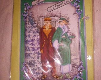 5 x HANDMADE CHRISTMAS CARDS art deco style
