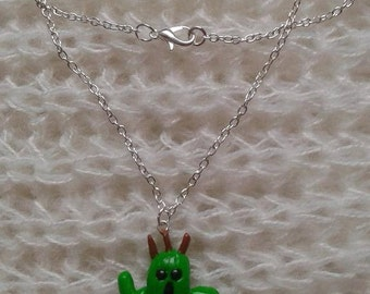 Cactuar necklace from Final fantasy polymere clay