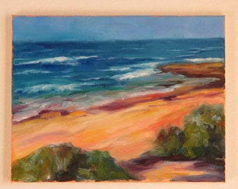 Original Impressionist Oil Landscape Painting of the Beach Surf, San Diego