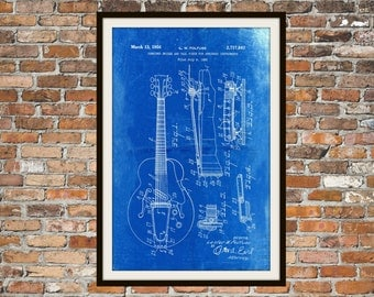 Blueprint Art of Guitar: Bridge & Tail Piece for Stringed Instrument Technical Drawings Engineering Drawings Patent Blue Print Art Item 0056