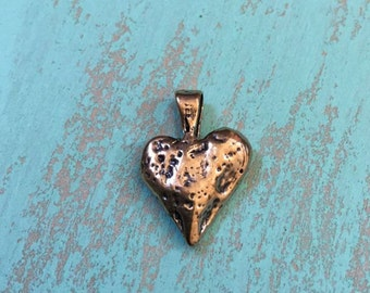 Heart Pendant, Charm Artisan Bronze - Rustic