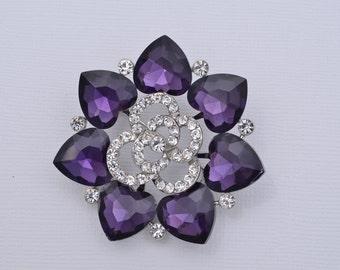 Bridal Jewelry Rhinestone Purple Brooch Wedding Brooch Purple Crystal Wedding Brooch Purple Brooch Wedding Cake Sash Brooch Scrapbooking