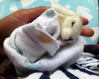 Needle Felted Sleeping Baby Bunny