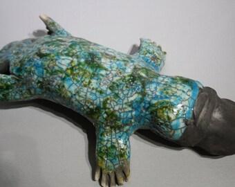 Ceramic raku Platypus