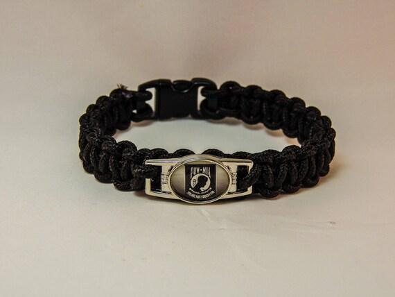 pow paracord bracelet color black by jewelrybygordon