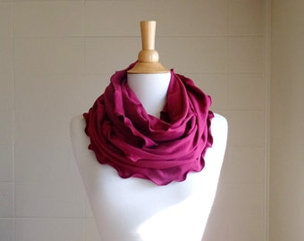 Infinity scarf Burgundy red cotton jersey eternity circle scarf holiday cranberry cowl ruffle scarf mothers day gift for her - Ready to Ship