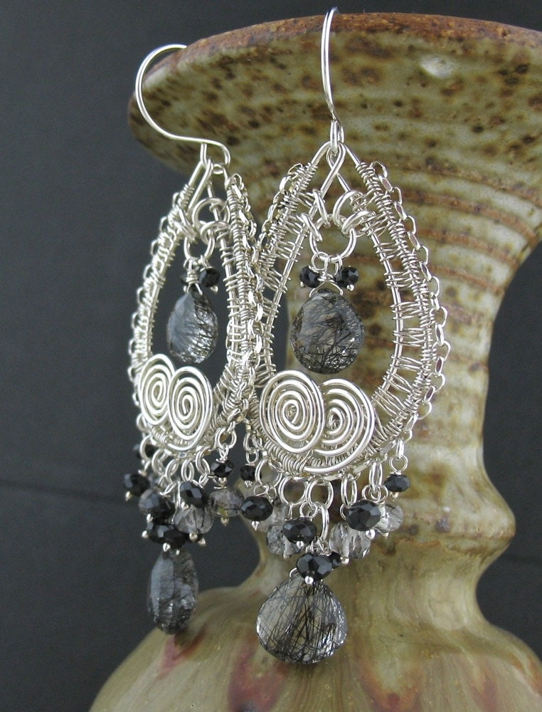 black gray clear gemstone wire wrapped earrings wire wrapped