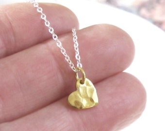 Tiny Gold Heart Necklace Hammered Charm Sterling Silver Chain DJStrang Minimalist Sweetheart Love Mixed Metals Boho Chic