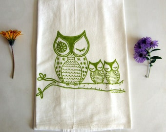 Owls Dish Towel, Tea Towel Cotton Flour Sack, Hand Printed, Teachers gift, Lime Green, Orange, Brown