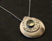 Sterling Silver TEARDROP Pendant with Light Green Prehnite Gem Stone - Handmade One of a Kind Fine Metal Jewelry