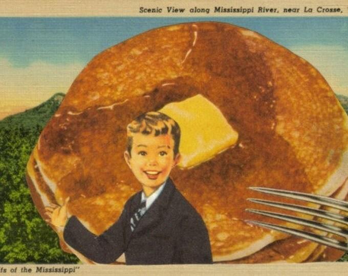 Pancake Art for Breakfast Nook, Original Collage Artwork