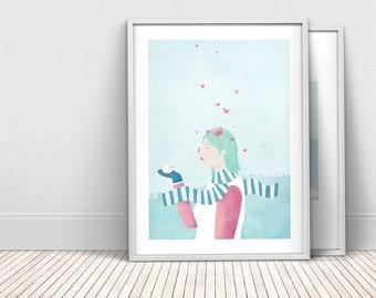 Winter butterflies in pink and mint - A4 art print