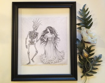 Persephone - Death and the Maiden Danse Macabre ink pencil drawing by Allison L. Bush-Forsberg