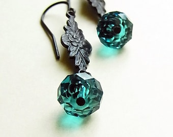 Indicolite Crystal Dark Brass Ear-rings // Swarovski Crystal Rondelle // Flower Nest Antiqued Brass Earrings