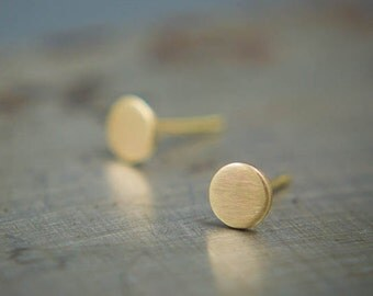 Small 14k Gold Stud Earring - Solid Gold Minimalist Earring Studs - Recycled Matte Gold Earrings - Round Stud Earrings