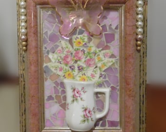 shabby chic broken china stained glass found object mosaic portrait
