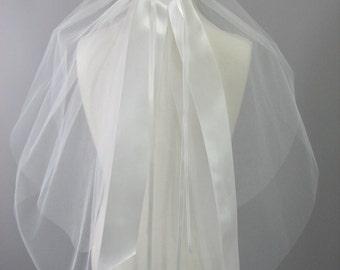 "First Communion Veil, 2"" Silk Ribbon"