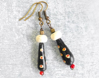 Vintage Bead Earrings // Modern // Tribal // Eco Friendly Handmade Jewelry by Luluanne