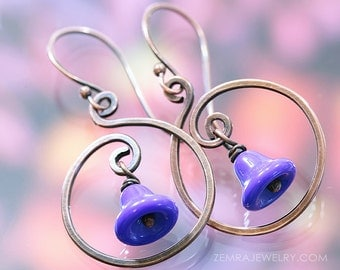 Sweet Bluebells Copper Swirl Hook Earrings Vintage Glass Bell Beads