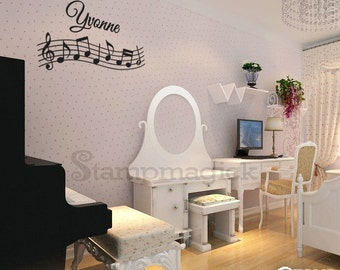 Music Wall Decal - Music Wall Art - Music Notes - Music Staff Vinyl Wall Decal Sticker with Name - K142N
