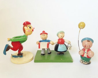 Vintage Wooden Mini Figures, Ice Skater, Couple, Boy, Made in Japan