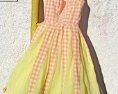 Vintage Gingham ORGANDY Teen Party Dress 50s ROCKABILLY
