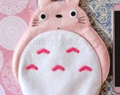 Totoro Pink My Neighbour iPhone Felt Case. Samsung Galaxy Note3, Note4, iPhone 6 /6+. Gadgets, Cosmetic Case. Cute Gift for her.