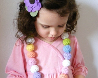Spring Necklace Easter Necklace Pastel Necklace Crochet Necklace Beaded Necklace Pastel Rainbow Necklace Pink Lavender Toddler Girl Necklace