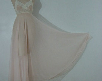70s Sheer Sweeping Chiffon Miss Elaine Gown    Small