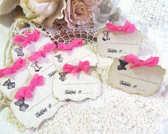 Bridal Shower Lingerie Party Escort Name Tents Vintage Corset Tags or Tents Party Place Cards Table Number Tags - Set of 9 - Choose Ribbons